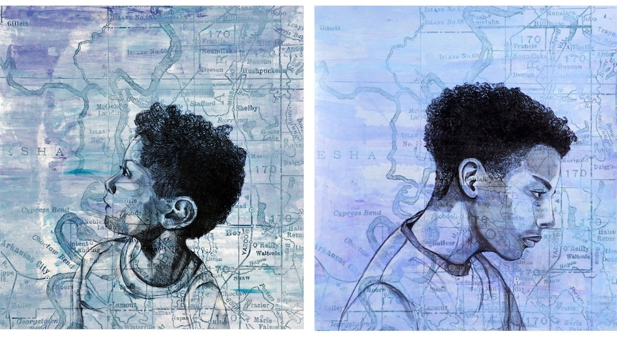 "Chloe Alexander, ""Aiden"" left and ""Etienne,"" 2019, Silkscreen, monotype, and charcoal, 20 x 20 in."