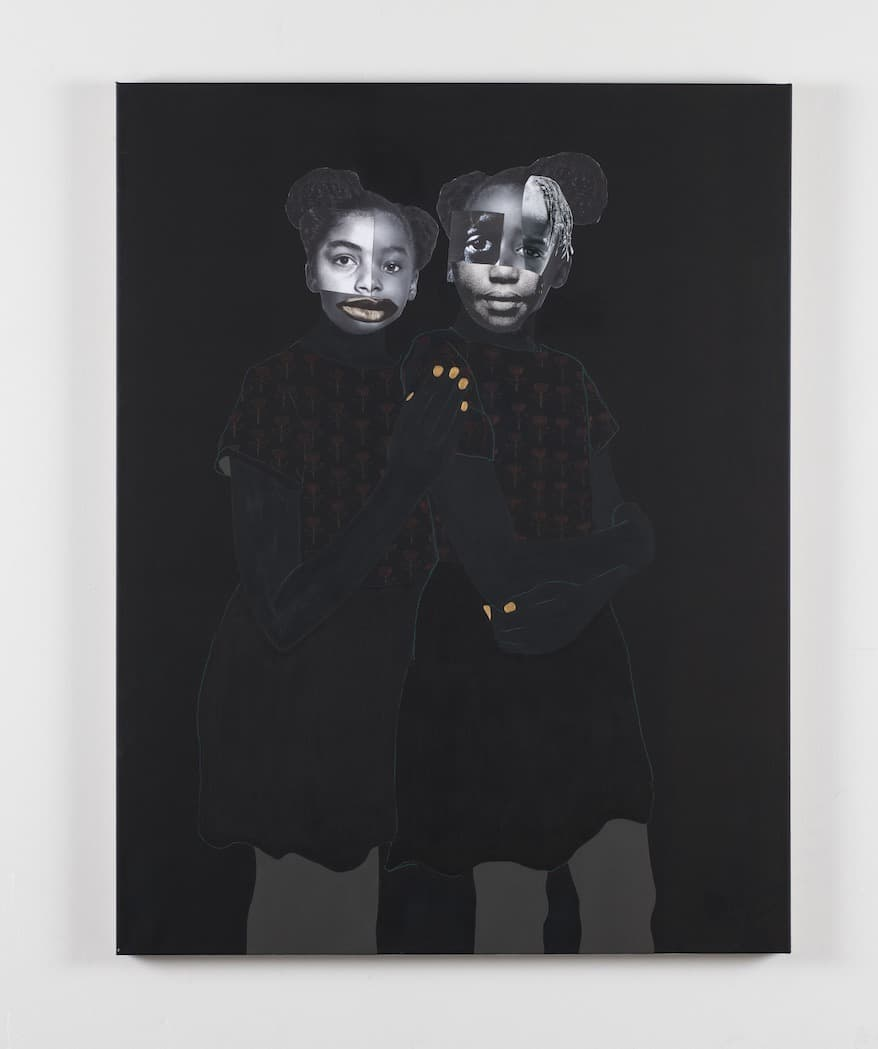 Deborah Roberts, Portraits: When they look back (No. 3), 2020. Mixed media collage on canvas.