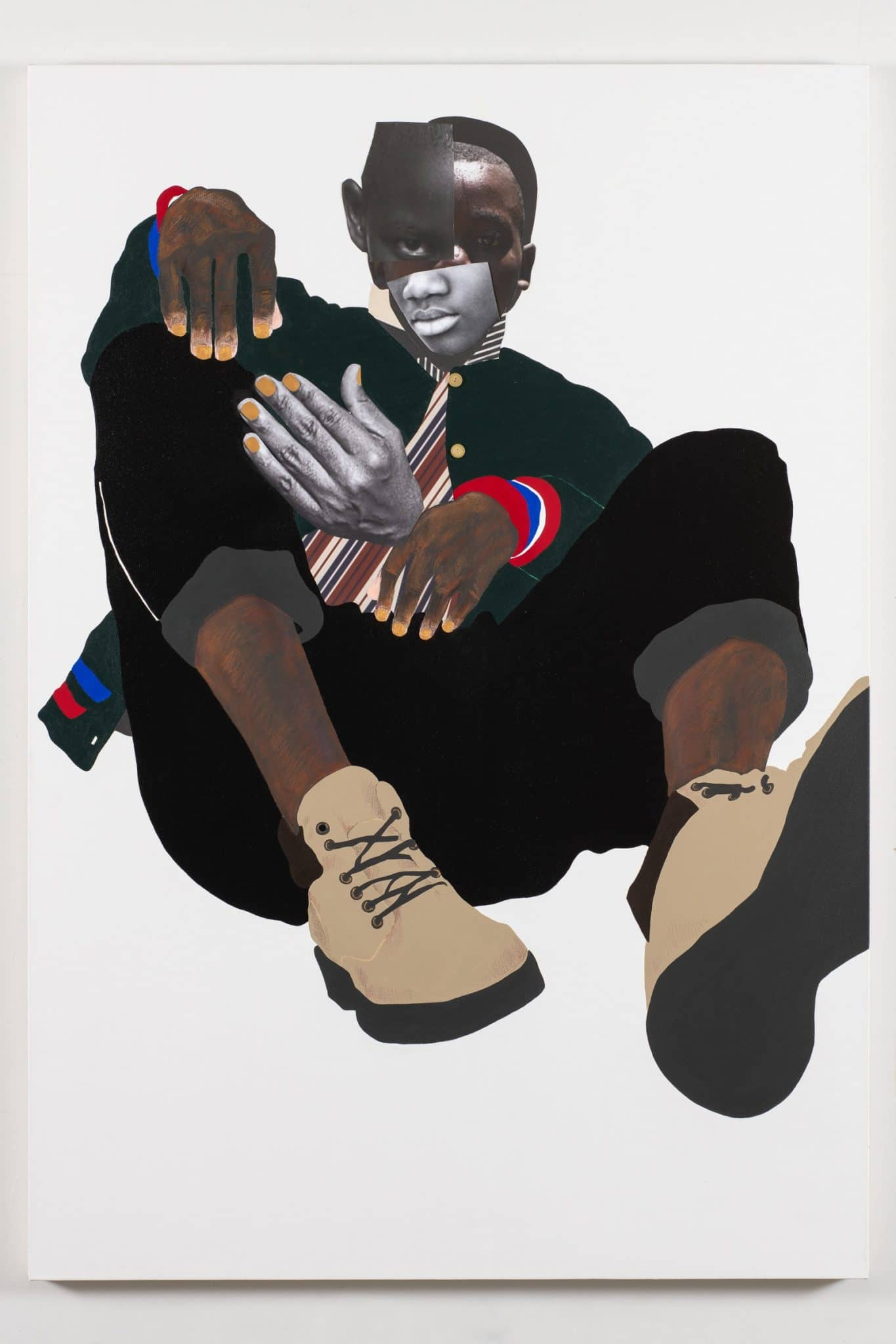 Deborah Roberts, Jamal, 2020. Mixed media collage on canvas. 65 x 45 inches. Artwork © Deborah Roberts. Courtesy the artist; Vielmetter Los Angeles; and Stephen Friedman Gallery, London. Image courtesy The Contemporary Austin. Photograph by Paul Bardagjy.