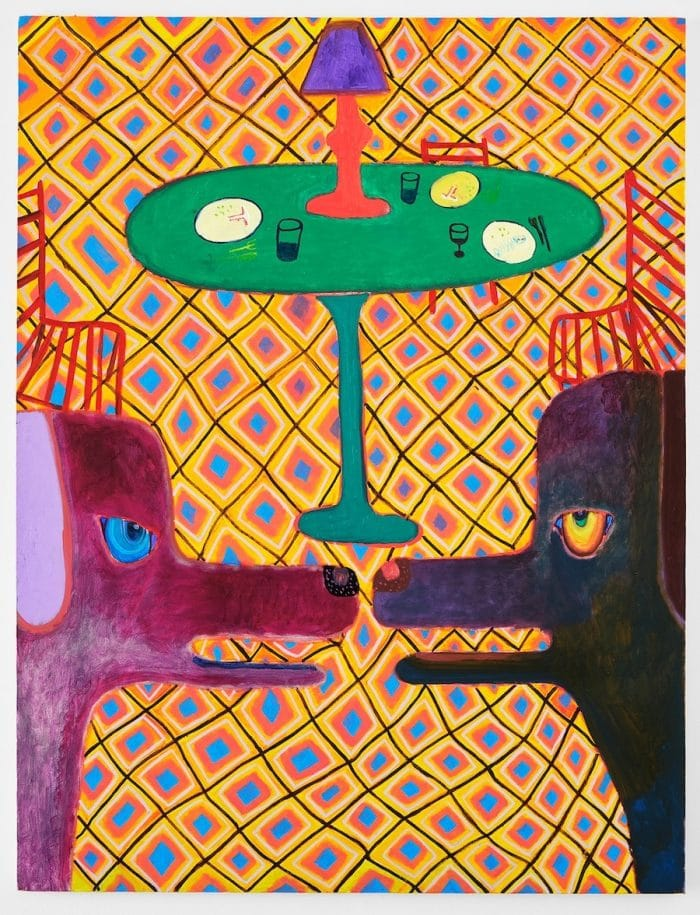 "Greg Piwonka, ""Table Scraps,"" 2020, 42x55 inches, oil on canvas. Courtesy the artist"