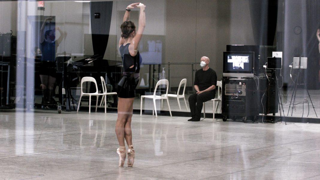 Ballet Austin artistic director Stephen Mills with dancer Grace Morton in rehearsal. Video still by Jordan Moser.