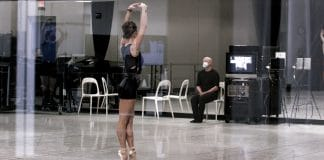 Ballet Austin artistic director Stephen Mills with dancer Grace Morton in rehearsal. Video still by Jordan Moser.