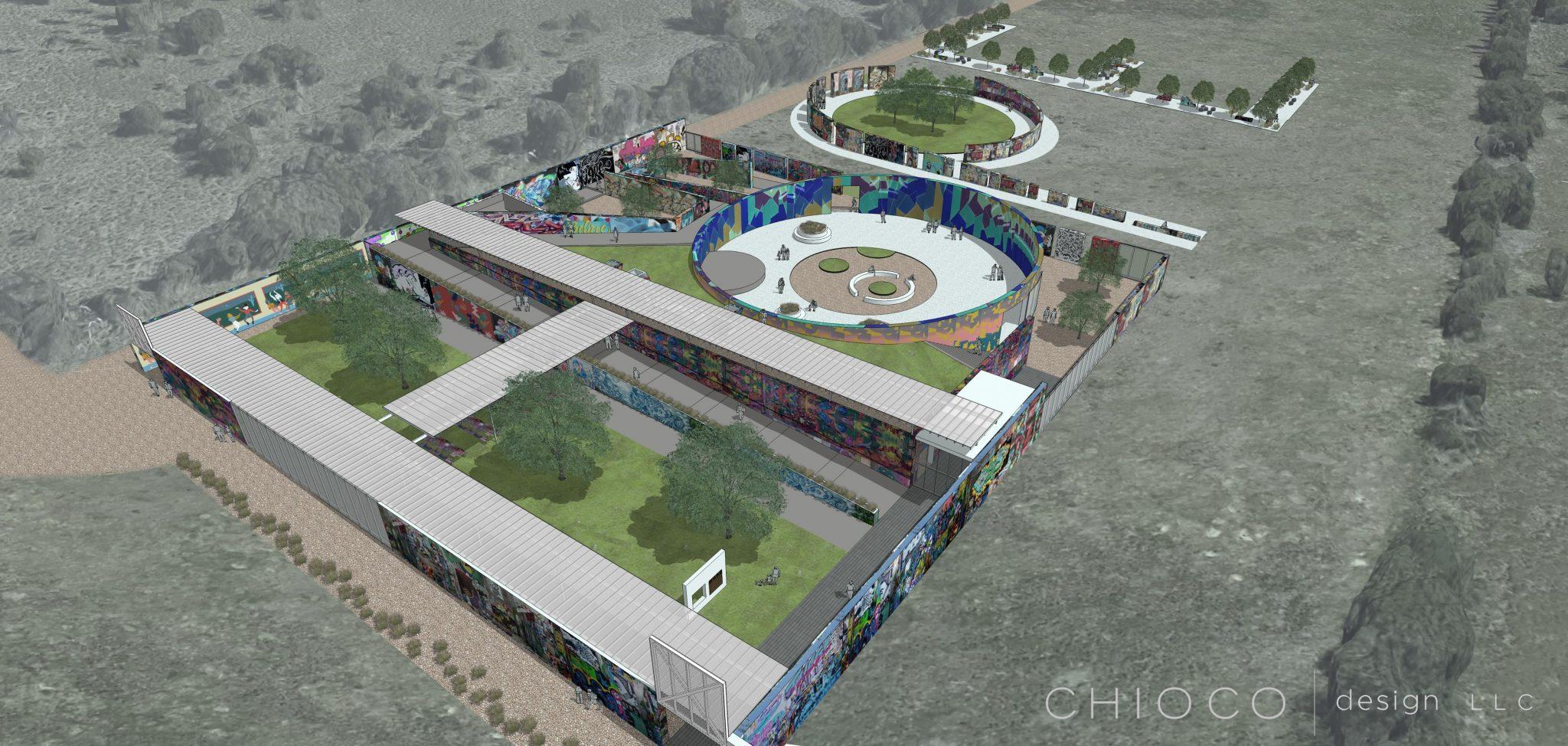 Rendering of Hope Outdoor Gallery. Chioco Design