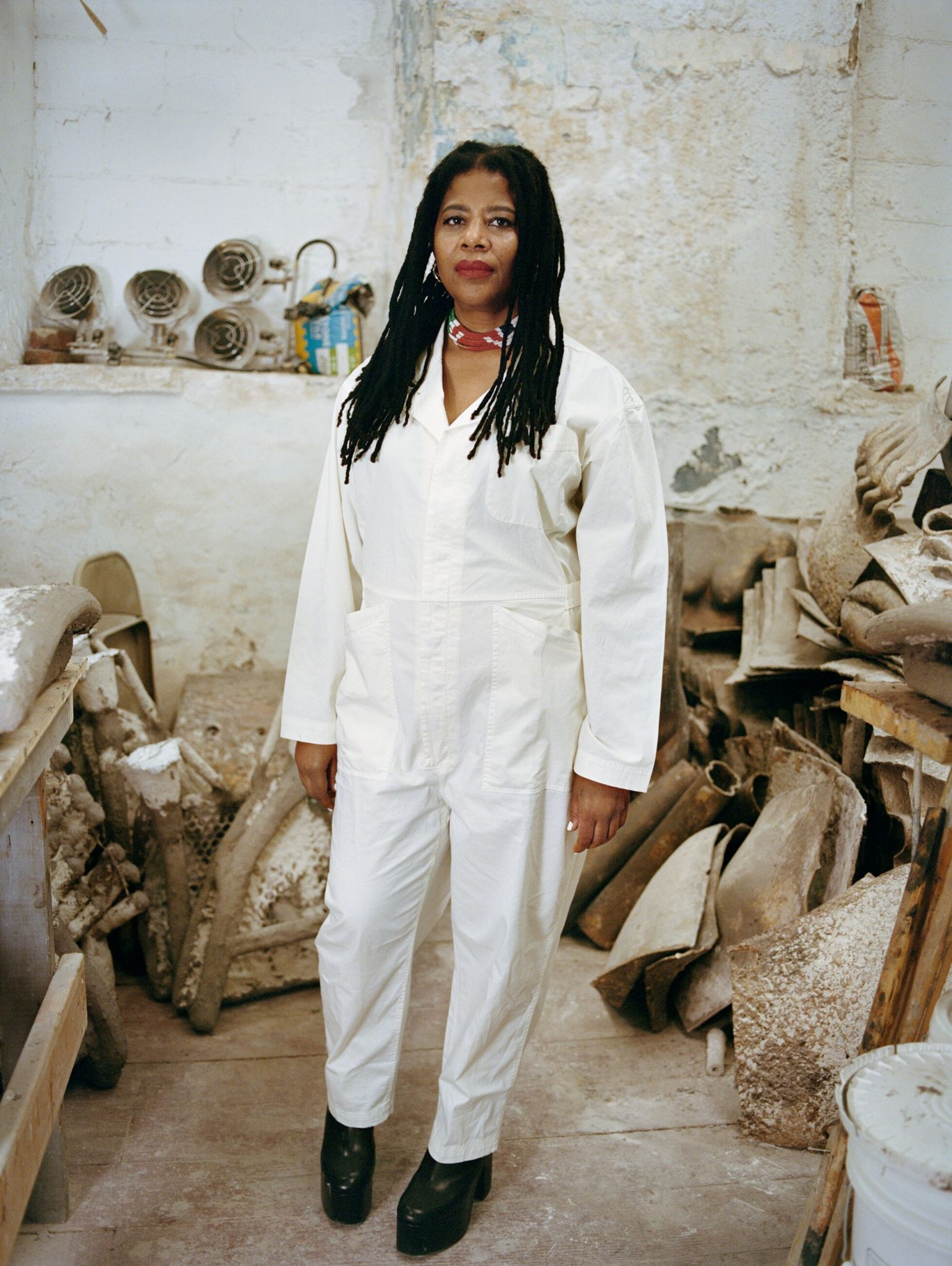 Simone Leigh photographed in her studio, 2020 © Simone Leigh Photo: Shaniqwa Jarvis Courtesy the artist and Hauser & Wirth