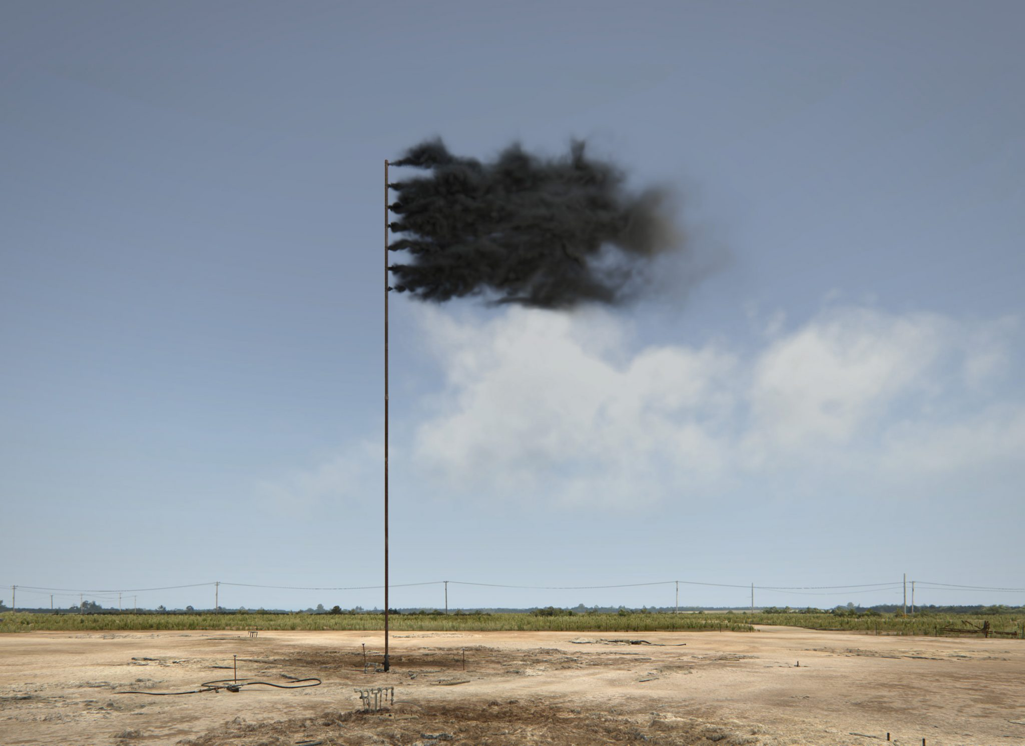 Western Flag (Spindletop, Texas) 2017 depicts the site of the 'Lucas Gusher' - the world's first major oil find - in Spindletop, Texas in 1901, now barren and exhausted. The site is recreated as a digital simulation and placed at its centre a flagpole bearing a flag of perpetually-renewing pressurised black smoke.