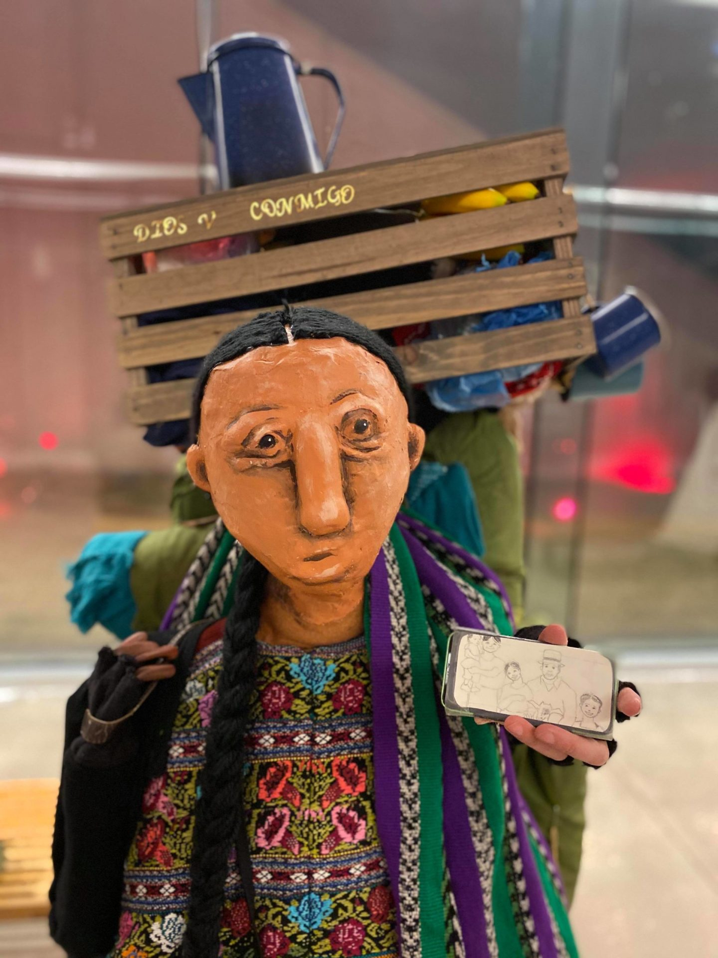 """Story by Caroline Reck and Khristián Mendez-Aguirre. Puppet built by Caroline Reck and Connor Hopkins. Photo by Uli Garcia. From a """"performance"""" at The Mexican American Cultural Center, Austin, Texas, 2019."""
