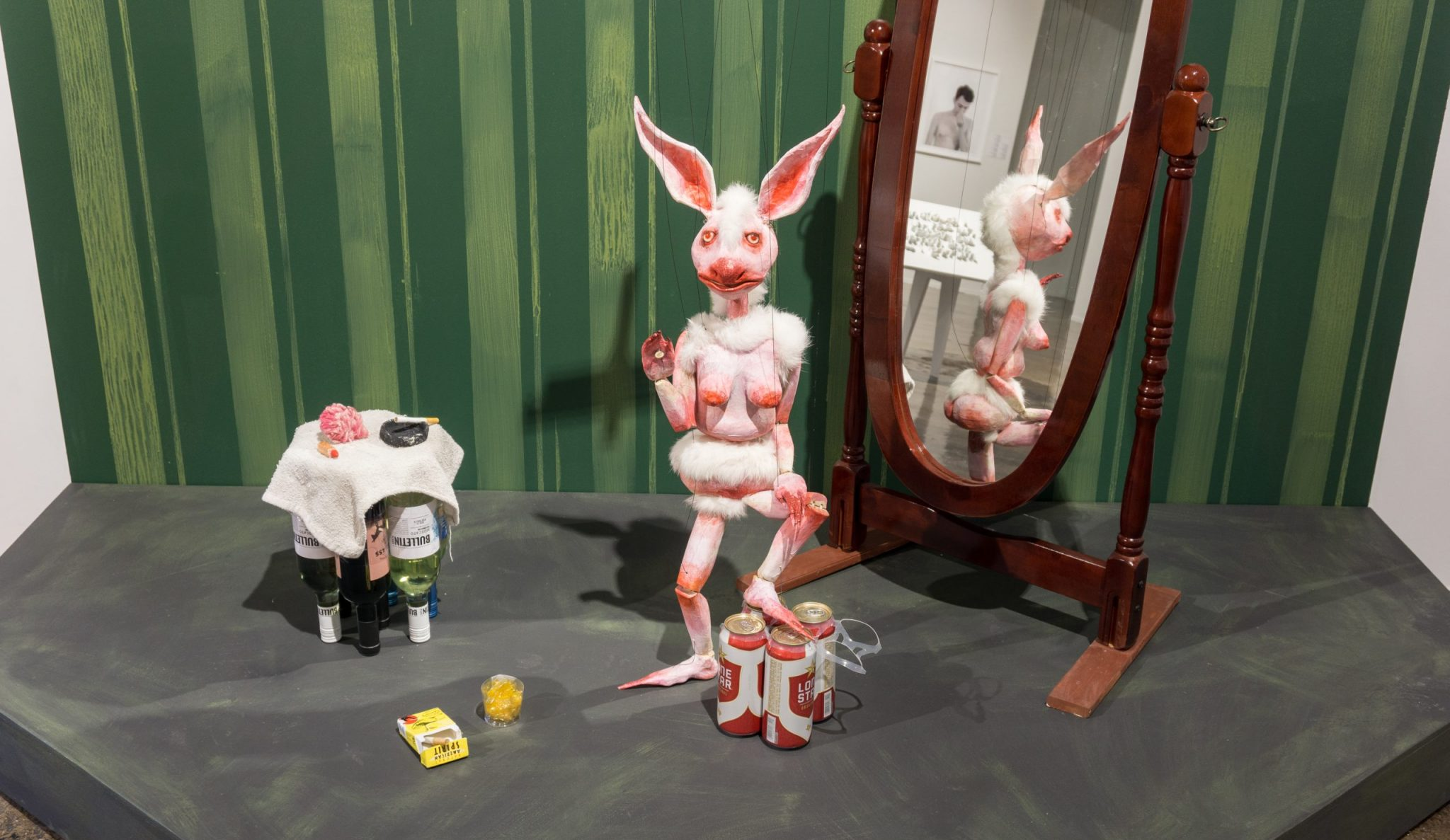 "Installation view of Sarah Fox's ""Bad Bunny Set"" at Blue Star Contemporary."