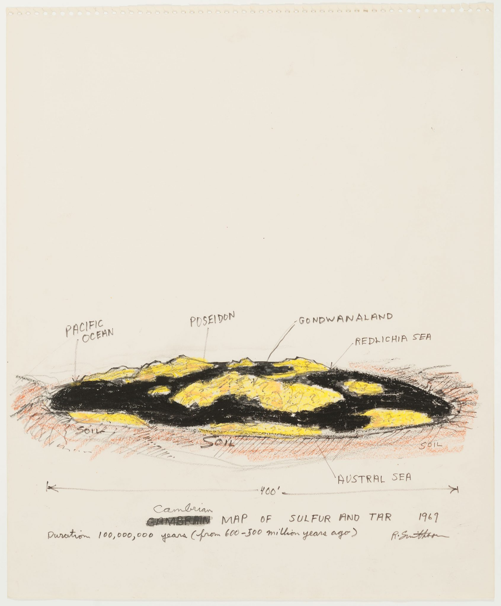 Robert Smithson, Cambrian Map of Sulfur and Tar, 1969. Crayon and marking pen on paper, 17 × 14 in. (43.2 × 35.6 cm). The Menil Collection, Houston, Gift of the artist. © Holt / Smithson Foundation / VAGA at Artists Rights Society (ARS), NY. Photo: Paul Hester