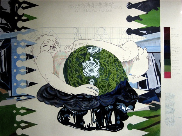 """Nicole Awai, """"Specimen from Local Ephemera: Go Go Green Compression with Black Ooze,"""" 2008, graphite, acrylic paint, nail polish and glitter on paper, 38 x 50 in."""
