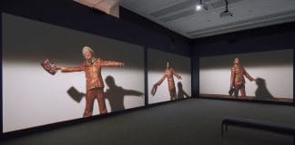 """Installation view of Suzanne Bocanegra, """"Valley,"""" at Blanton Museum of Art, June 27-Sept. 19, 2021, courtesy of Blanton Museum of Art, The University of Texas at Austin"""