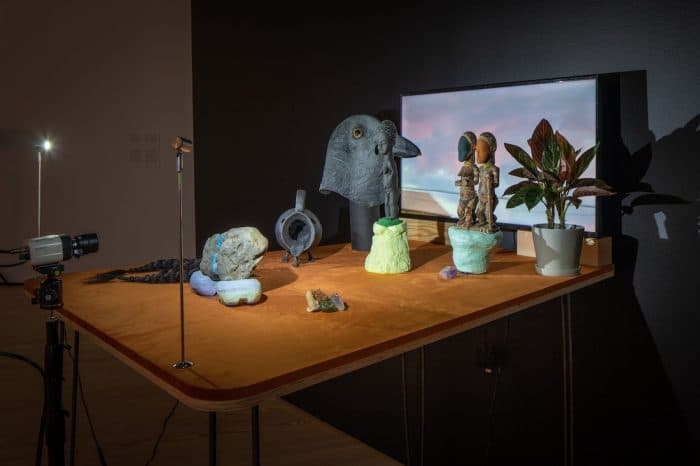 """Installation view of """"Cauleen Smith: We Already Have What We Need,"""" Contemporary Arts Museum Houston, Texas, 2021. Photo by Sean Fleming."""